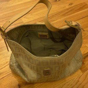 Fendi Zucca Small Tan Shoulder Bag